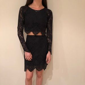 For Love & Lemons Black Crop Top  + Skirt